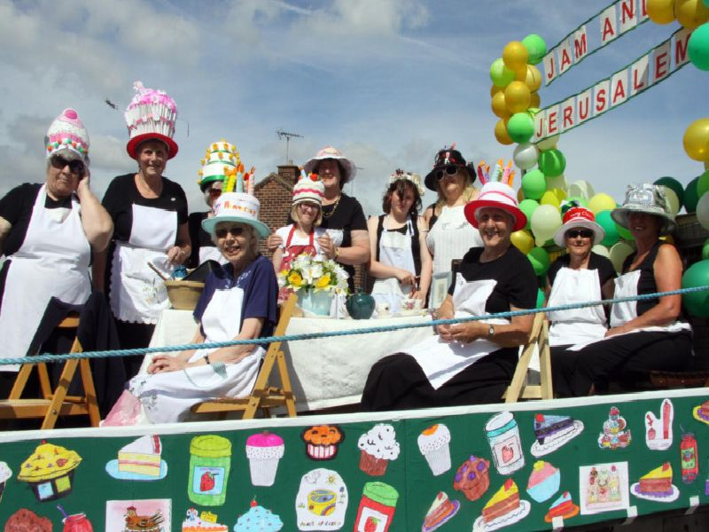 Newton WI members on their Jam and Jerusalem float at Newton Gala in 2010.