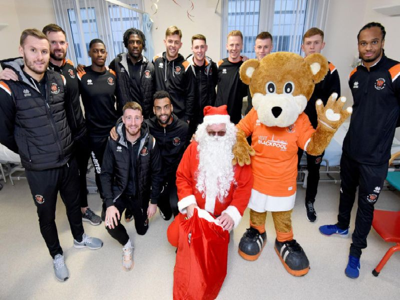 Blackpool FC players visit the children's ward at Blackpool Victoria Hospital