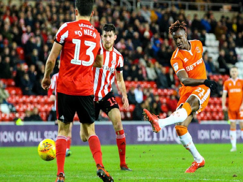 Armand Gnanduillet gives Blackpool the lead with a 25-yard rocket