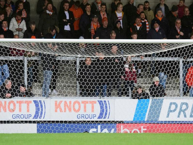 No official figure was given but an estimated 500 Blackpool fans made the trip to the East Midlands