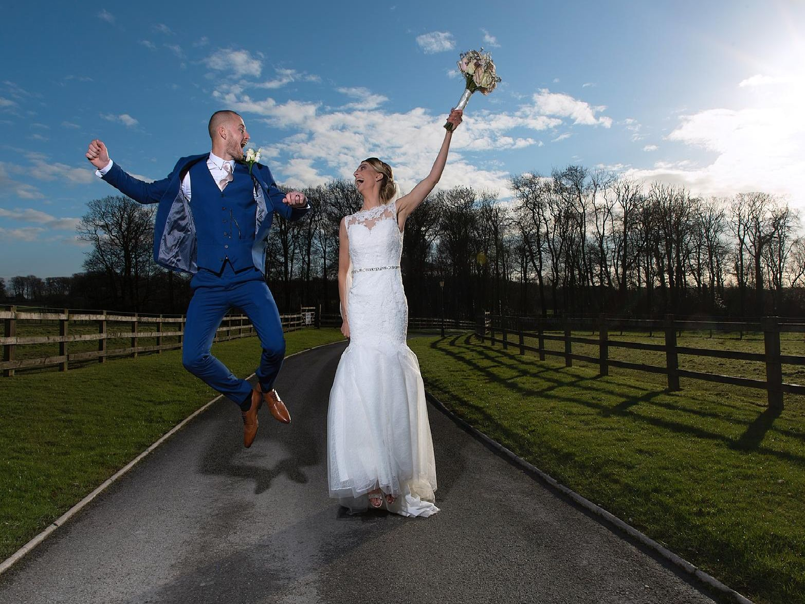 And the winter sun shone for the couple's big day.
