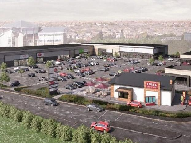 An artist impression of the retail site at Norcross where the new M&S will be sited along with a drive through Taco Bell and Costa.