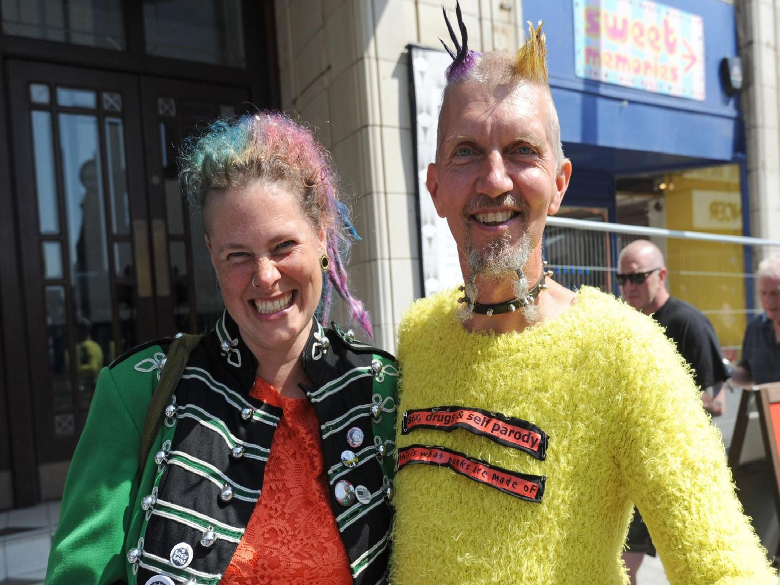 Punks gather for the Rebellion Festival 2019.  Moo and Llama.
