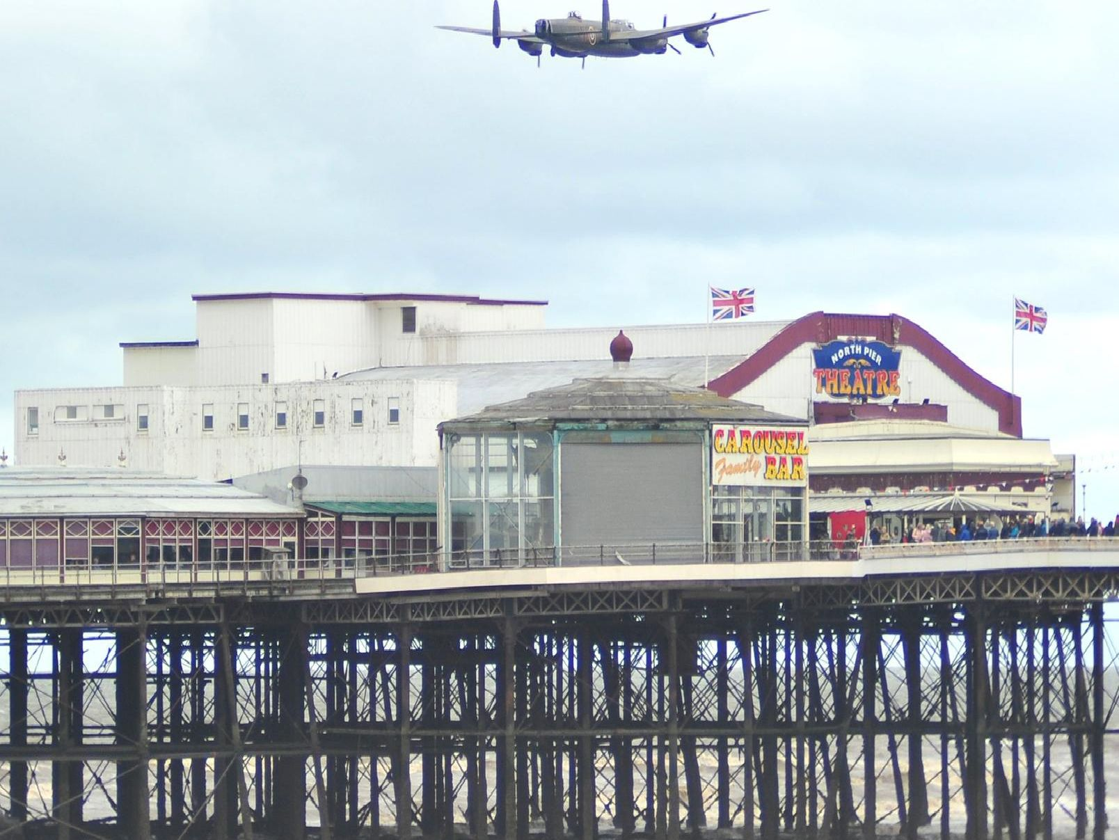 The Lancaster Bomber during the Battle of Britain Memorial Flight at Blackpool Air Show