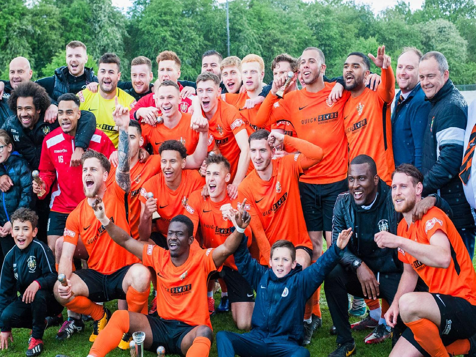 Brighouse Town celebrate promotion. PIC: James Heaton.