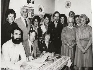 Clitheroe Ramblers at 15 years in 1984, gathering for their AGM. Pat Parrott is seated front right