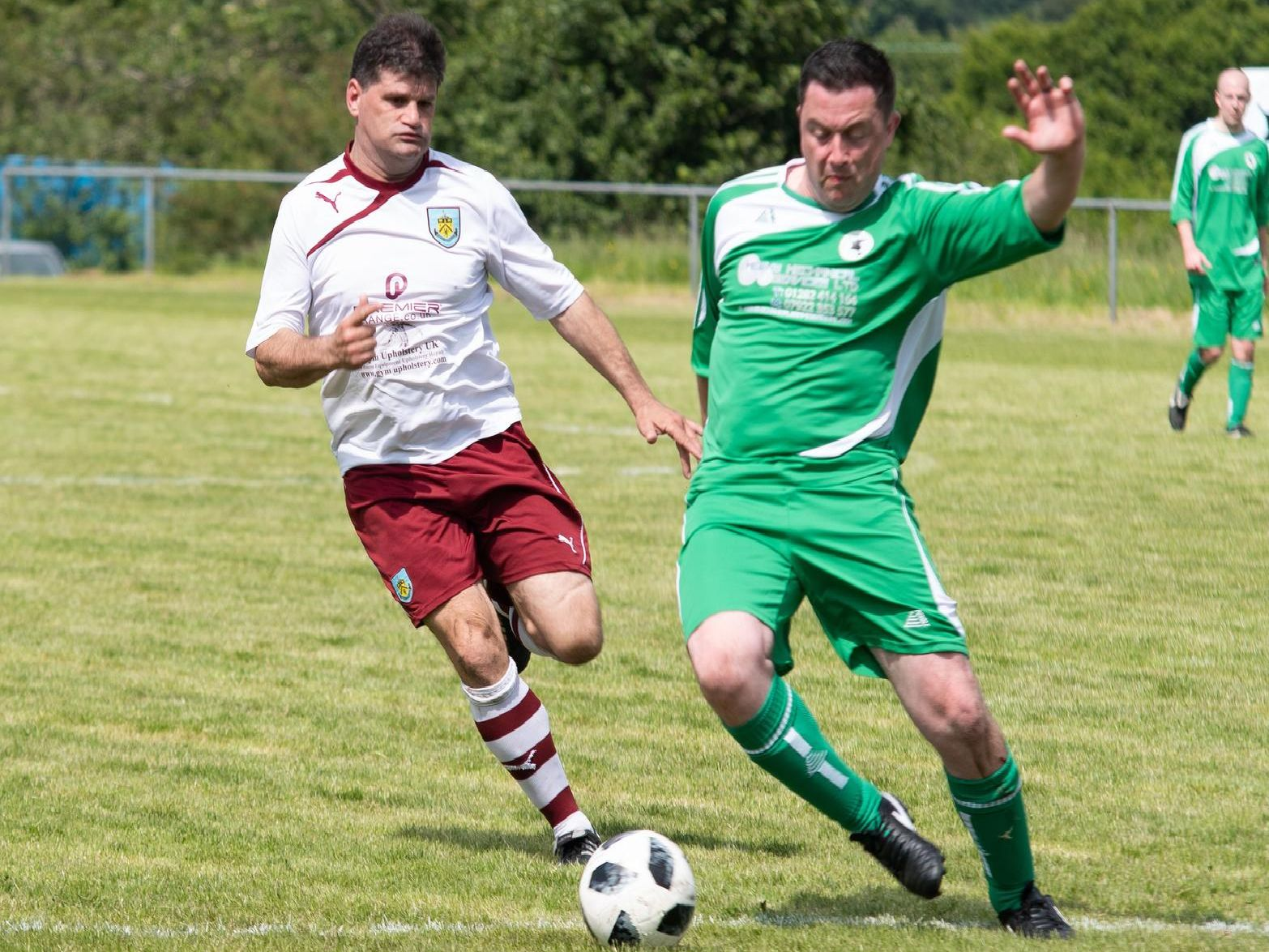 Match action as Vintage Clarets left it late to beat a Pendle Forest XI 6-5''PHOTOS: Kelvin Stuttard