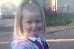 Lily-Rae Howarth (five) all set for Rosewood Primary School in Burnley