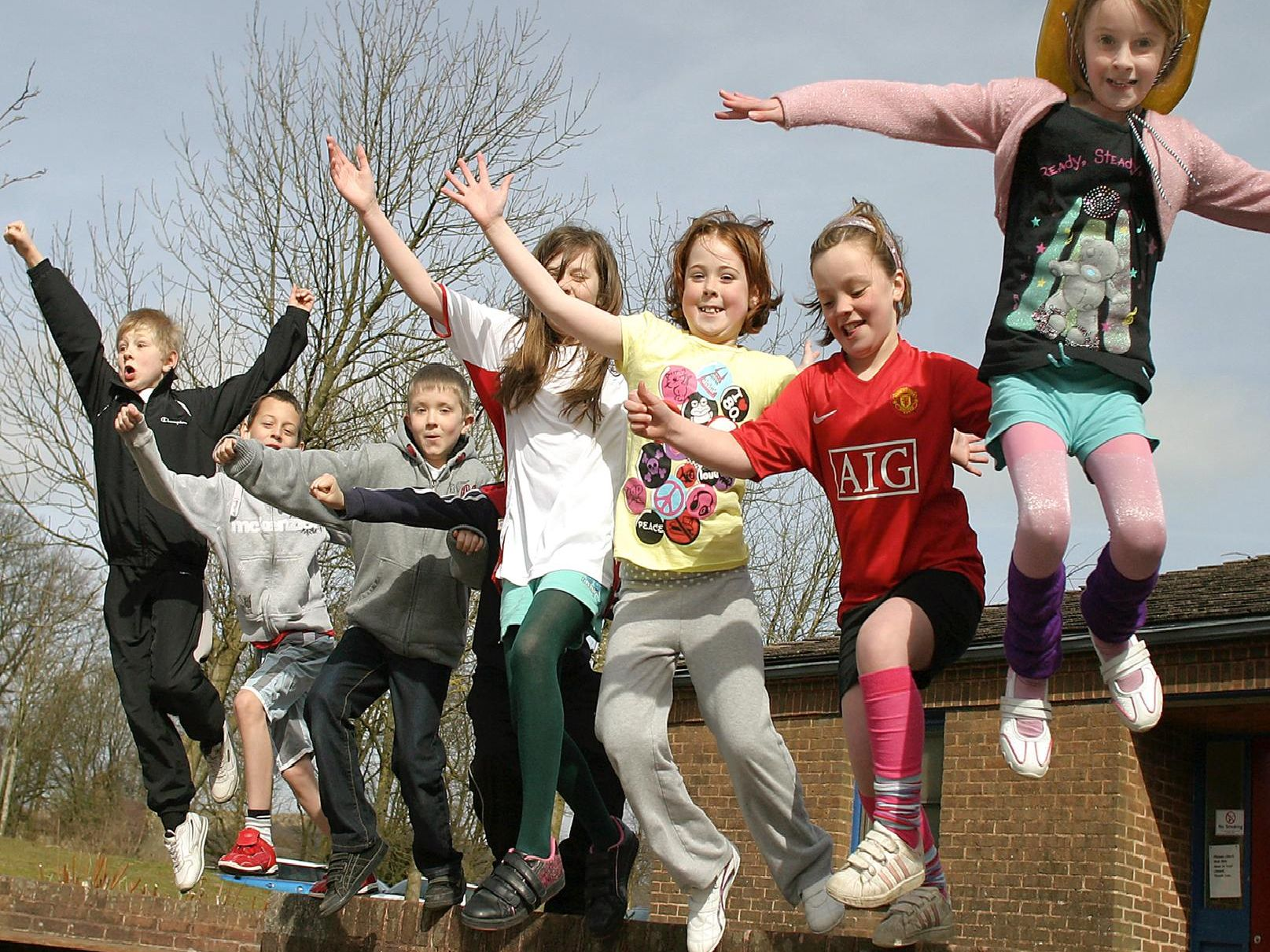 Year four pupils from Buxton Junior School take part in fundraising for Sports Relief in 2010.