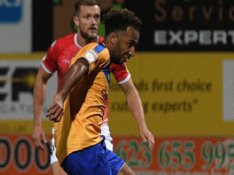 Nicky Maynard holds the ball up for Stags.