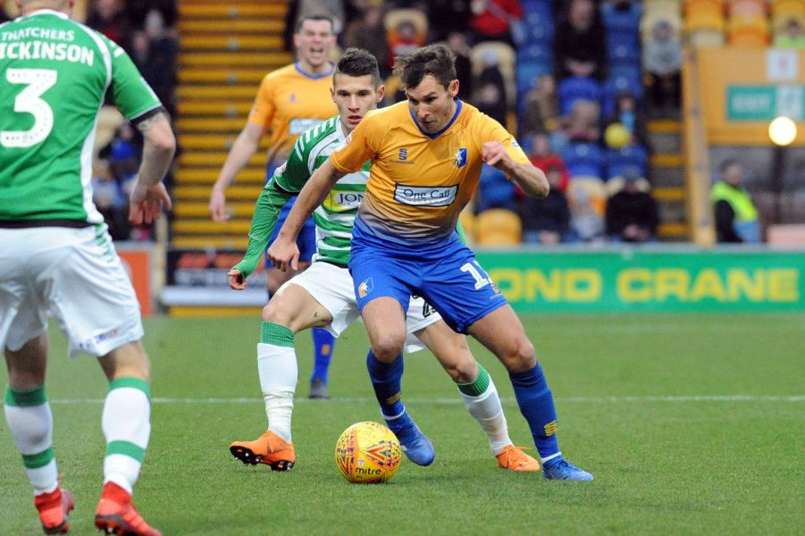 Mansfield Town v Yeovil Town'Will Atkinson in first half action.
