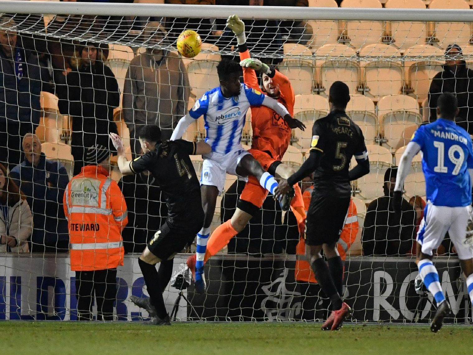 Colchester v Stags action