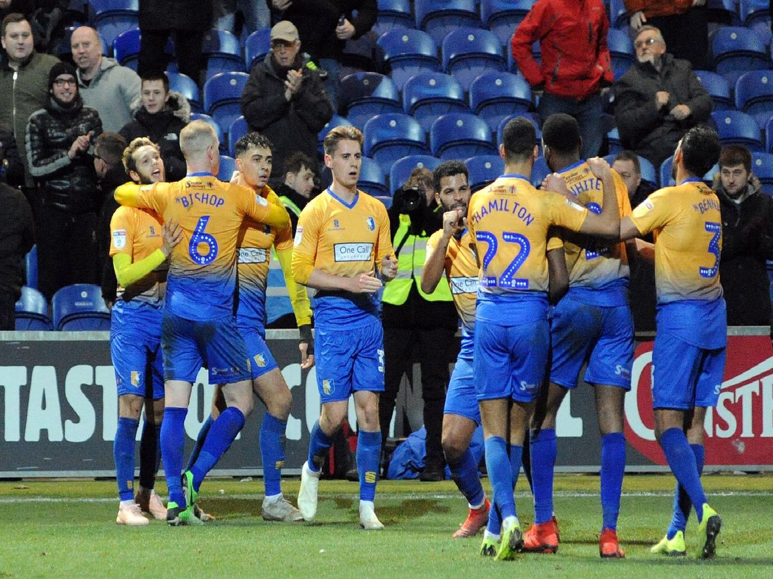 Stags players celebrate.