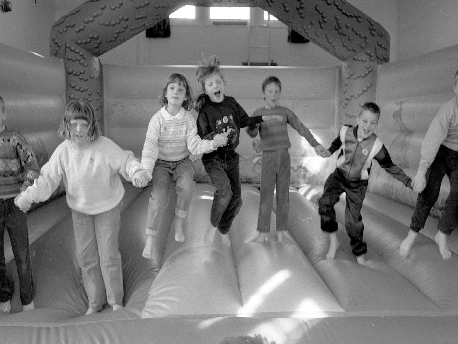 1990: Children from Robert Jones School in Blidworth are having fun during their sponsored bounce. Did you take part in this?