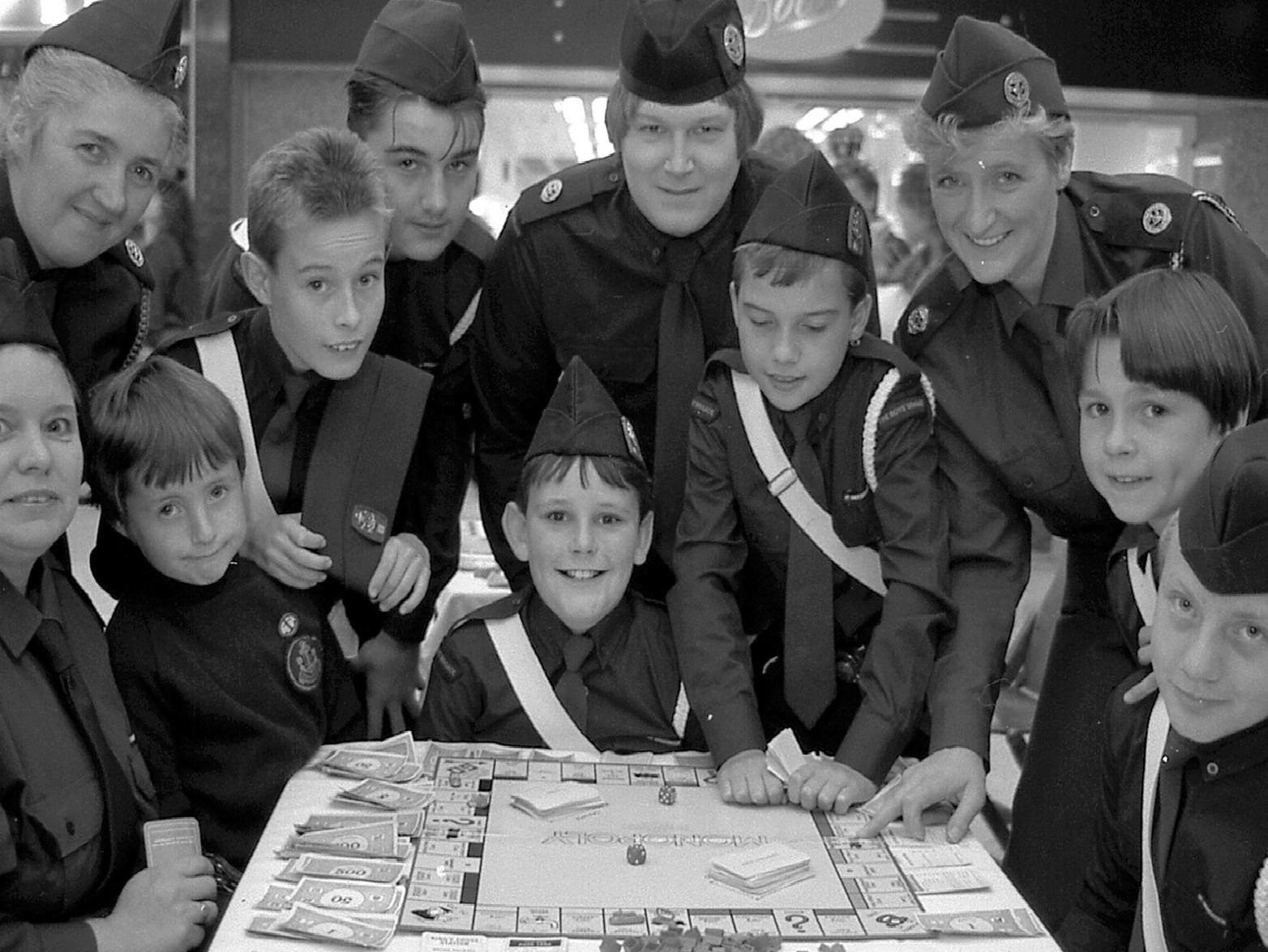 1989: A smiley group shot of Mansfield Boys Brigade during their Monopoly marathon. Did you take part in this?