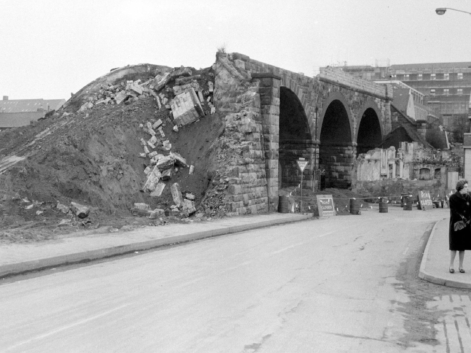 Mansfield Demolition of Bridge over Ratcliife Gate 1971-3