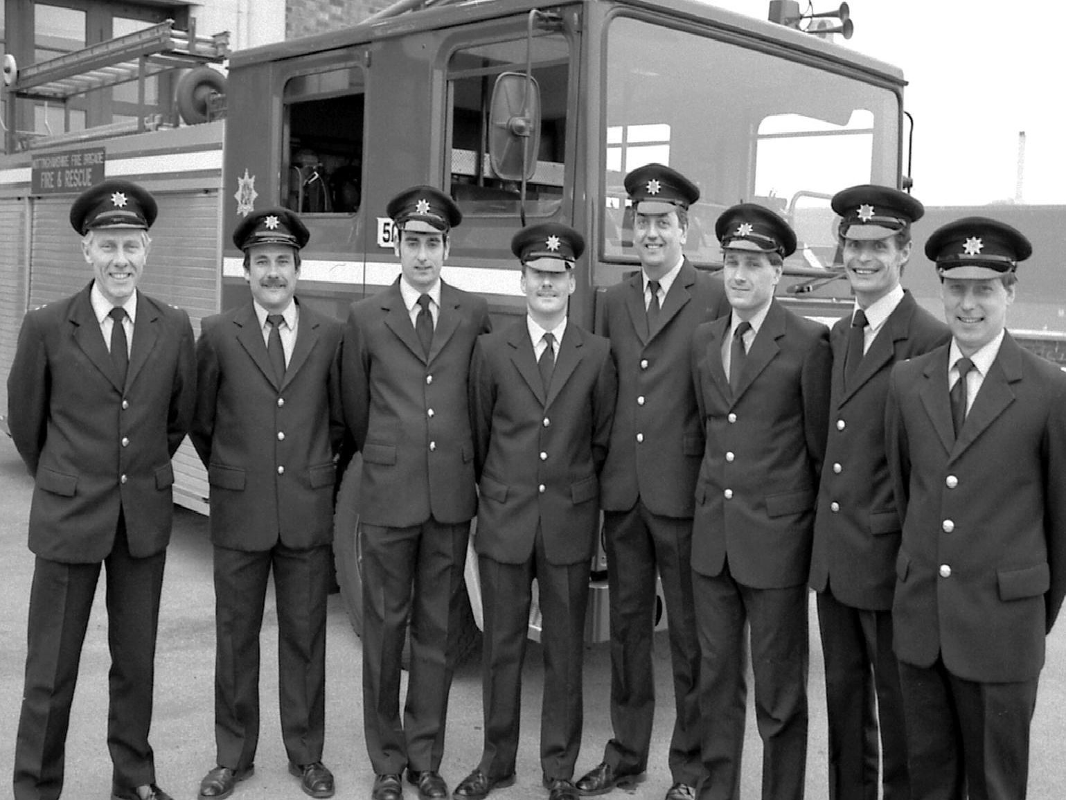 1989: This fabulous bygone snap features blue watch from Mansfield Fire Station. Do you recognise anyone?