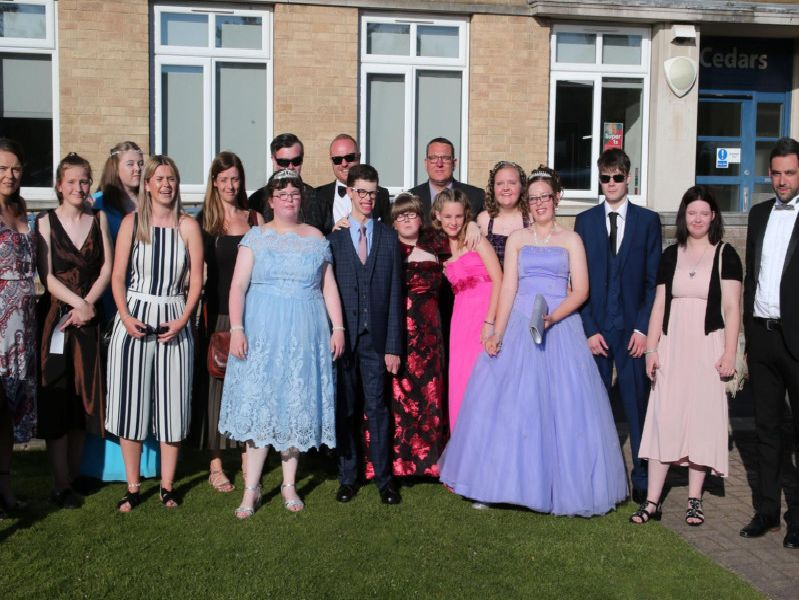 Pupils and staff ready for the prom.