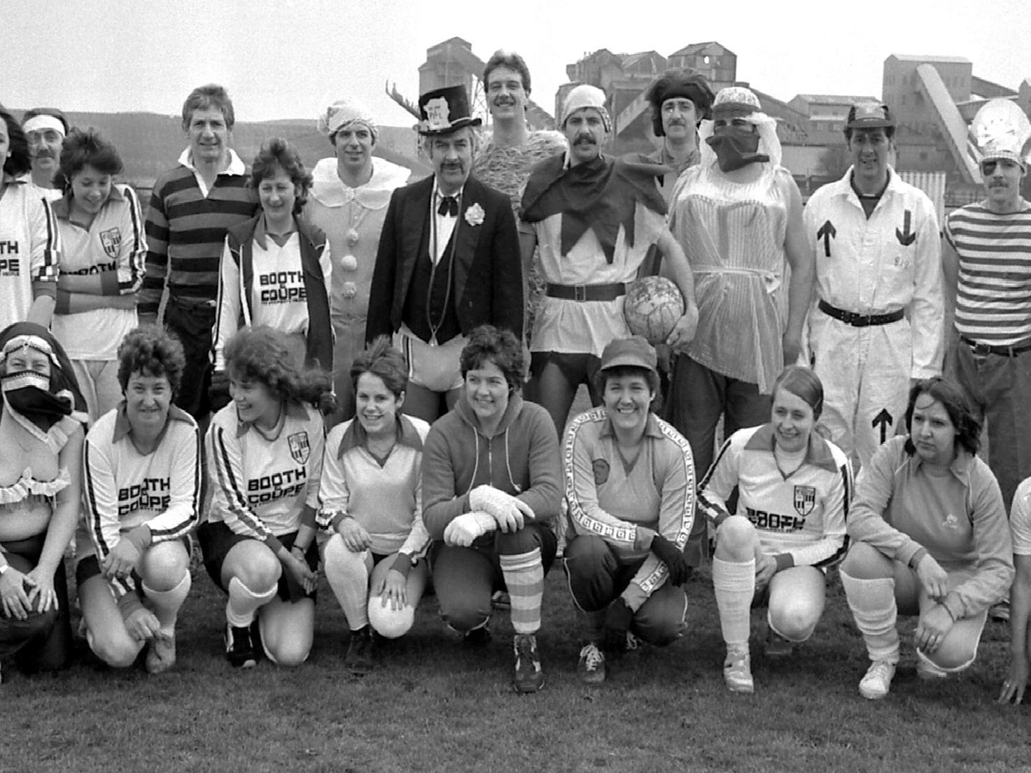 1985: Firemen and ladies from Blidworth go head to head in a charity football match. Are you on this picture?