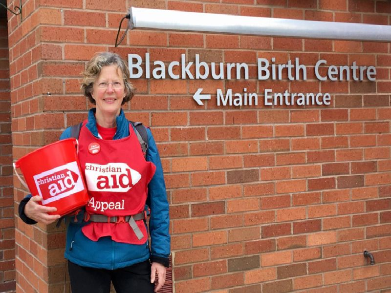 Clare Hyde, of  Knowle Green, walked 11 miles from Clitheroe to the Birth Centre at Blackburn Hospital, raising hundreds for Christian Aid.
