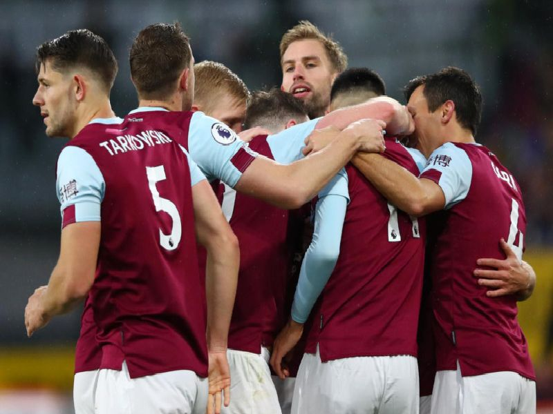 The Clarets celebrate at Turf Moor