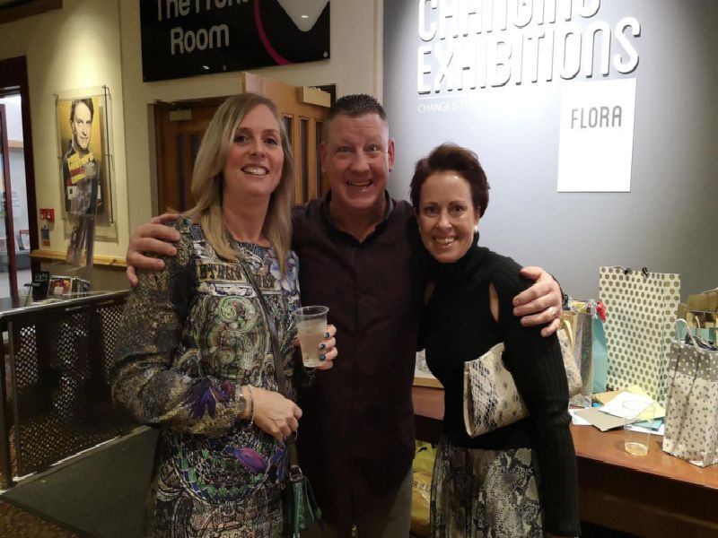 Birthday boy Gary Scully celebrates at his 50th birthday bash with lifelong pals Kirsti Tattersall (left) and Sarah Maylor.