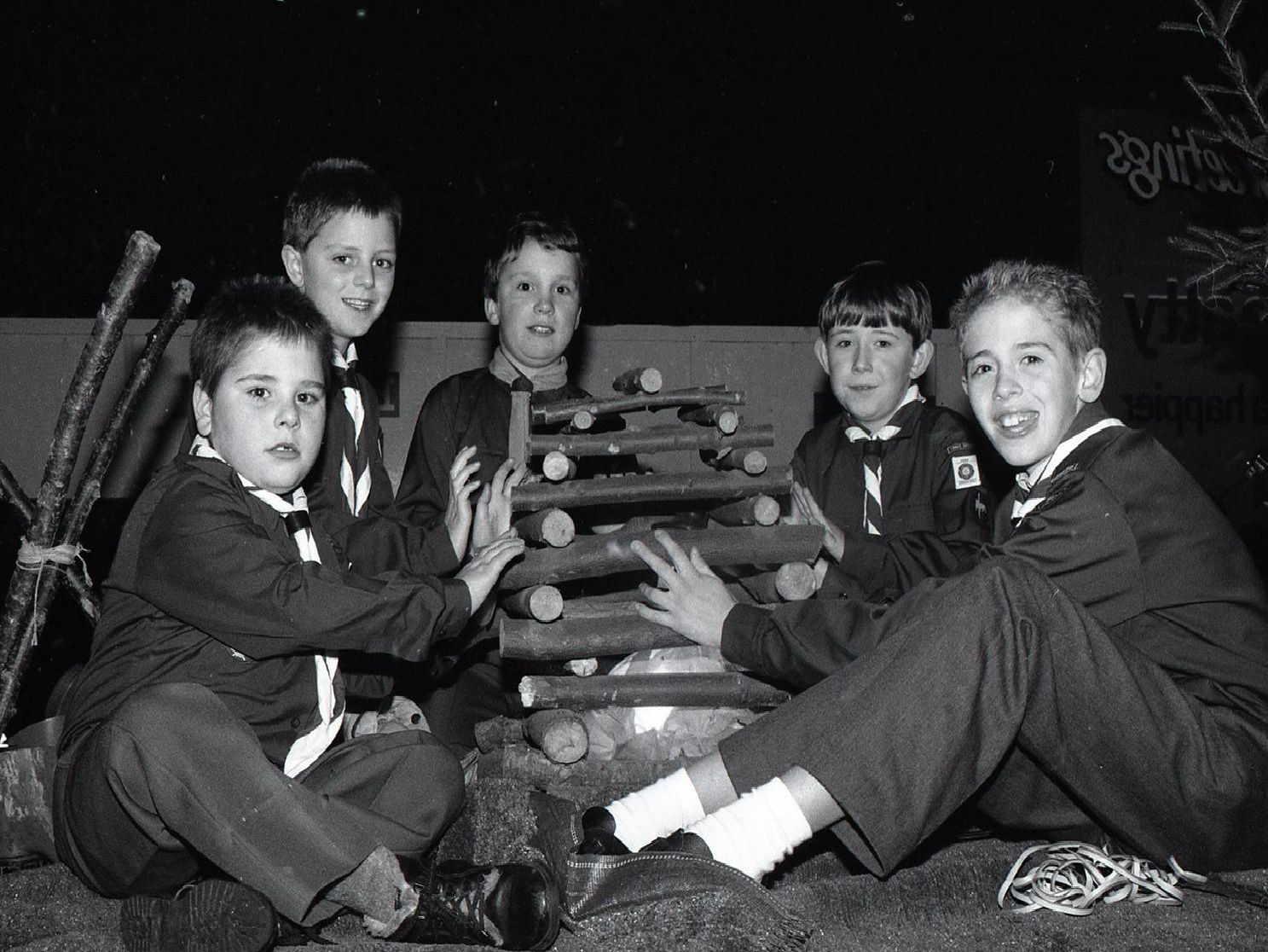 Preston scouts keeping warm (from right) Peter Nickson, Mark Ashurst, Steven Howie, Christopher McGuill and Raymond Long. The scouts were taking part in the spectacular annual Torchlight Parade in Preston town centre