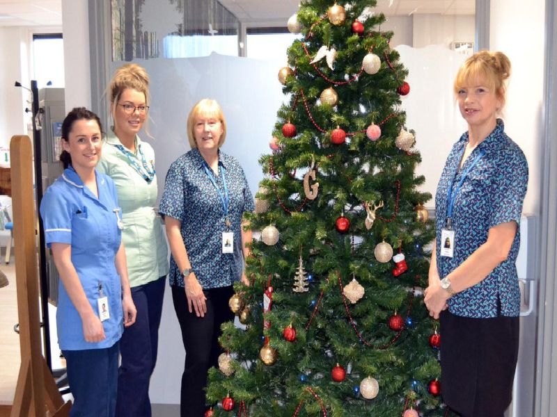 Beautiful Christmas tree on display in the Primrose Chemotherapy Unit at Burnley General Teaching Hospital
