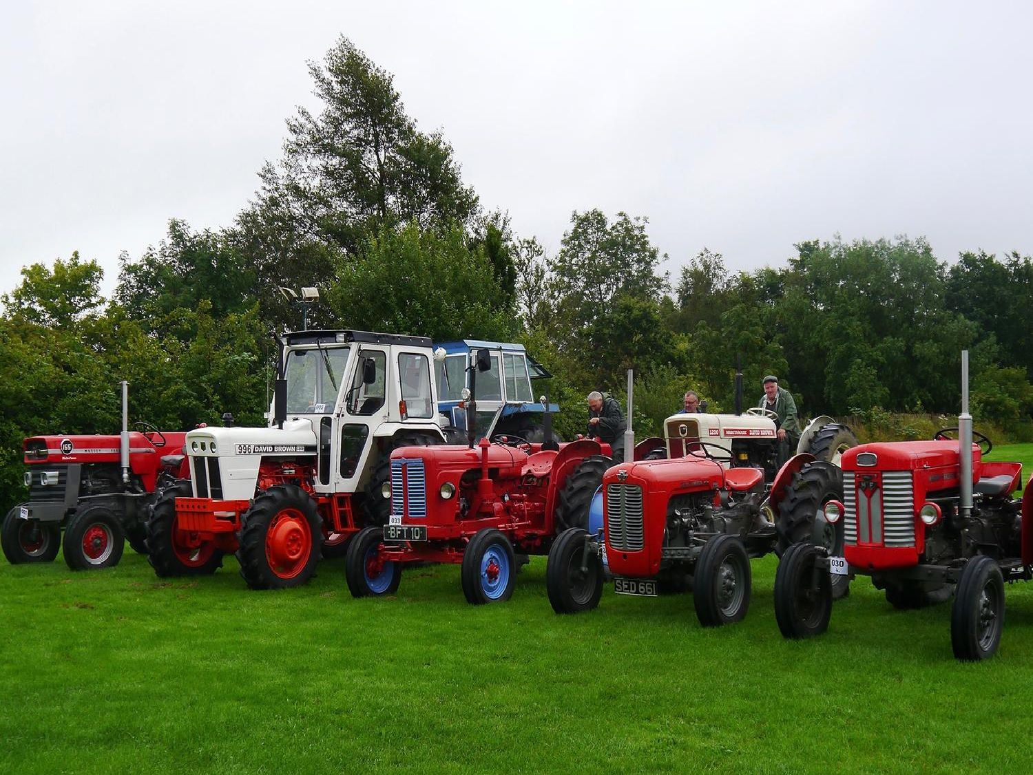 Tractors line up ready for the seventh annual Pendle Witch Tractor Road Run