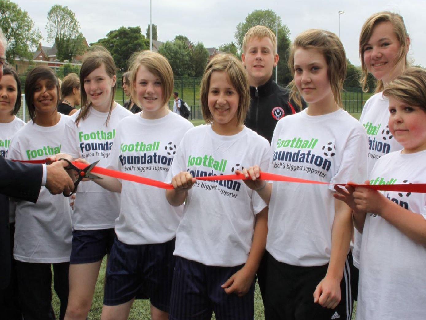 Opening of Brookfield School Sports Pitch. The Mayor of Chesterfield Keith Morgan performs the opening ceremony.