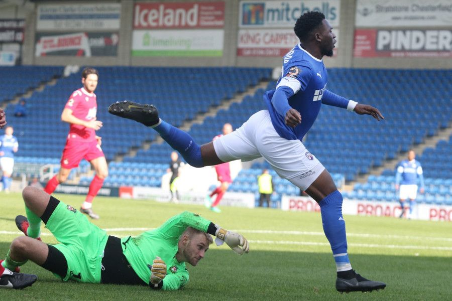 Mike Fondop scores for Chesterfield.