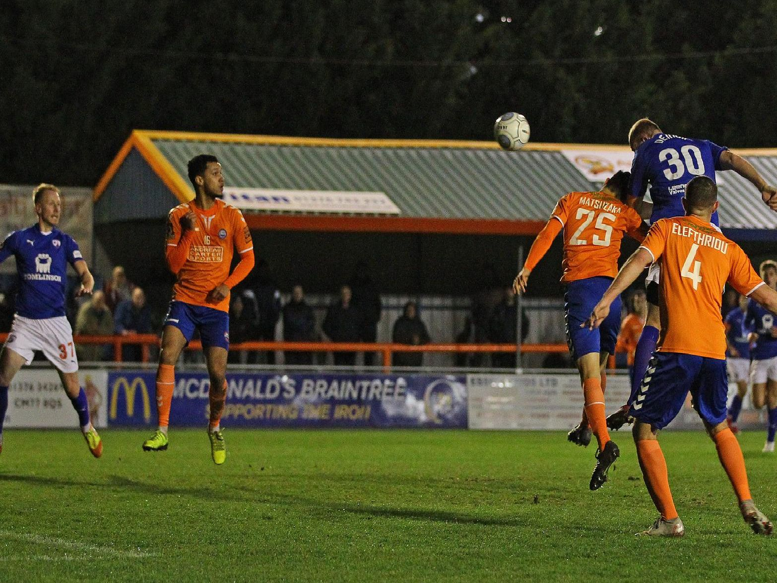 Tom Denton gets up to win a header, leading to Scott Boden's first goal