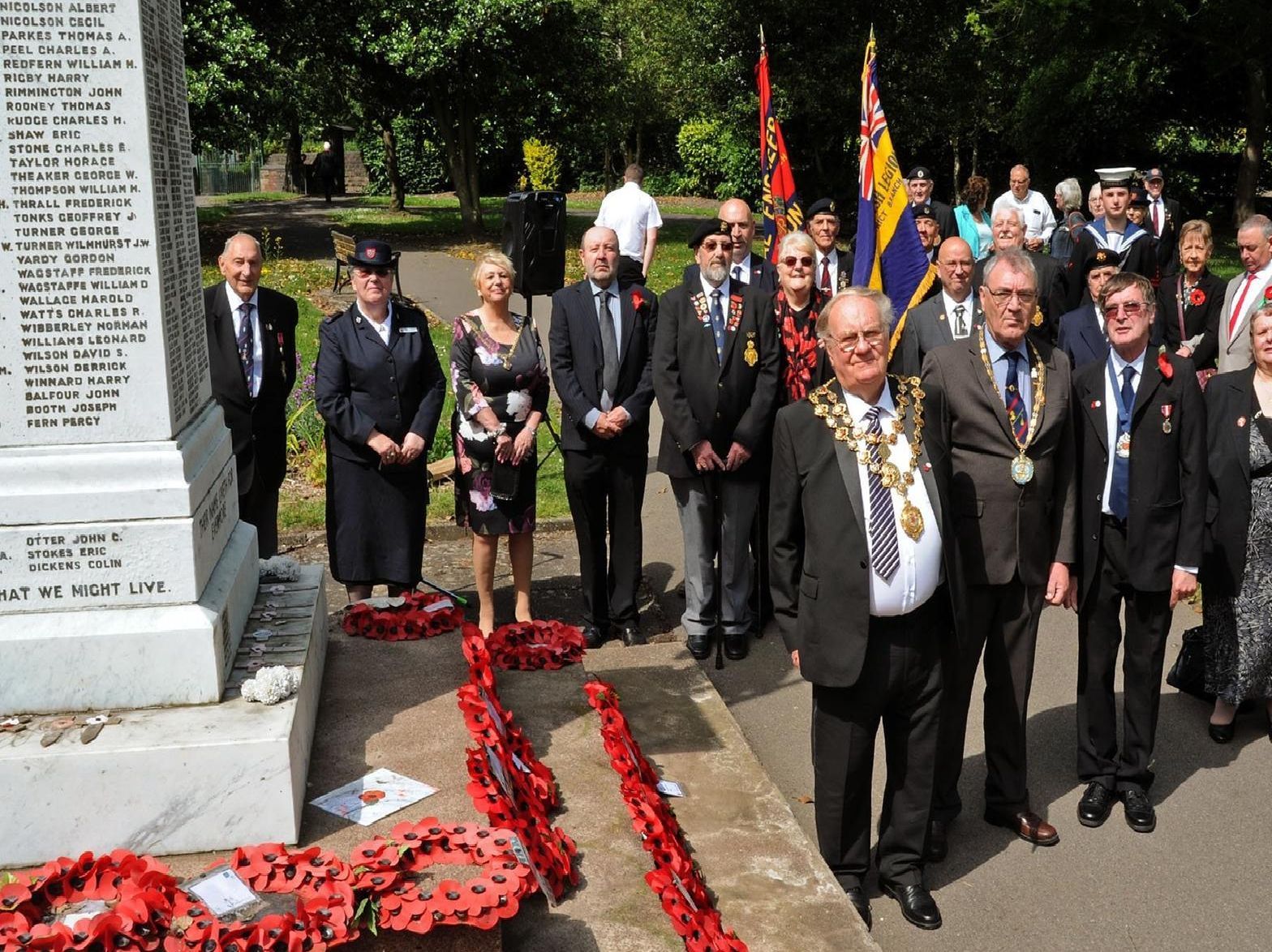 Members of the Staveley Royal British Legion were joined by Chesterfield's Mayor Councillor Gordon Simmons and the Mayoress Councillor Kate Caulfield at the laying of wreaths to mark the 75th anniversary of D Day on Thursday.