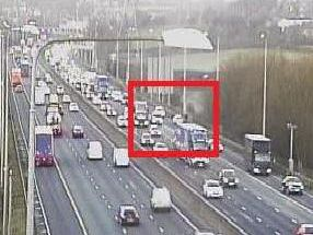 A broken down vehicle in lane one of the eastbound carriageway is causing lengthy tailbacks at junction 26 for Chain Bar. PIC: Highways England