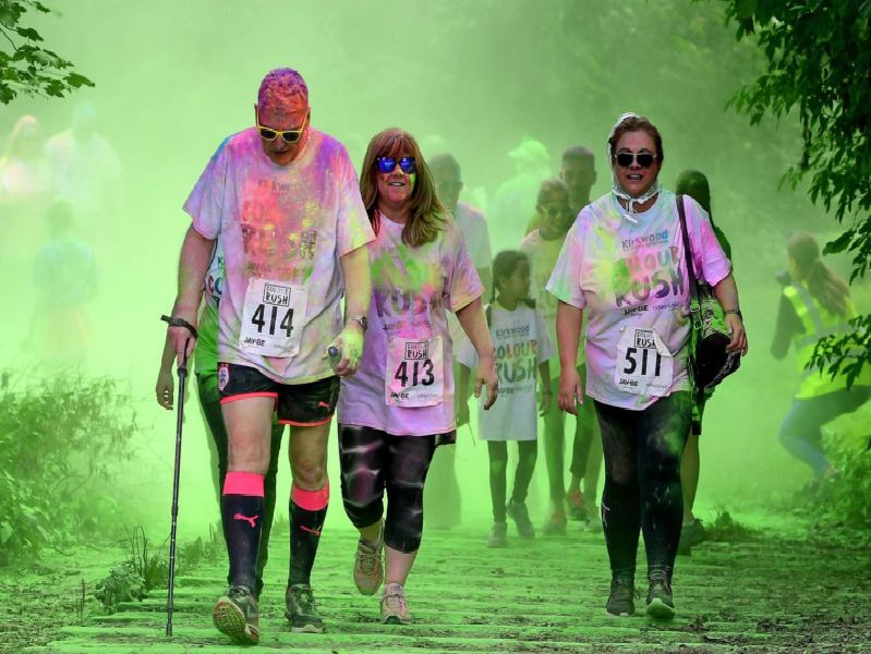 Runners were splashed with colour at the event at Oakwell Hall Country Park