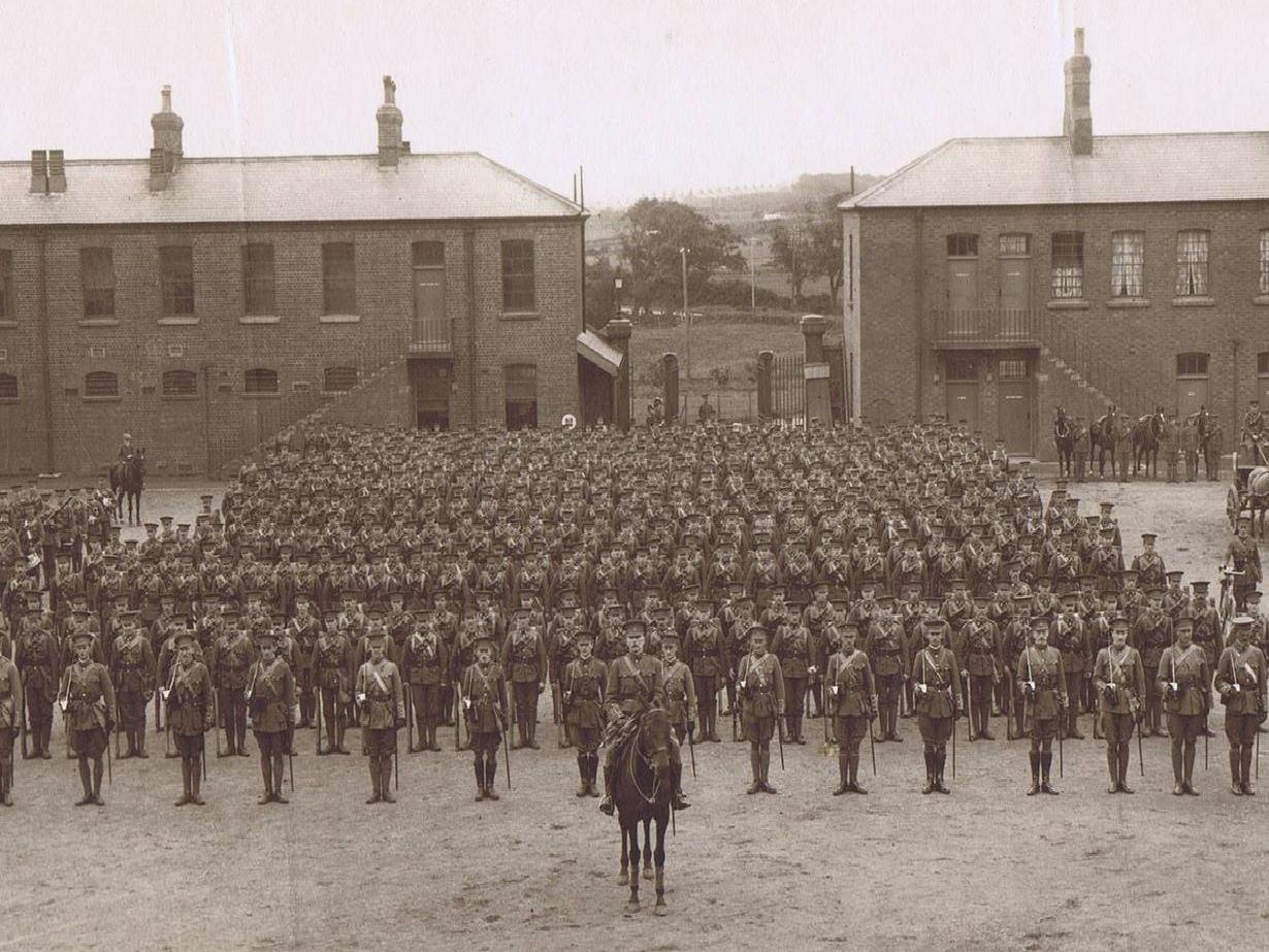 2nd Battalion, Alexandra, Princess of Wales's Own Yorkshire Regiment, on parade at Burniston Barracks, Scarborough, on their return to England from South Africa, July 1909