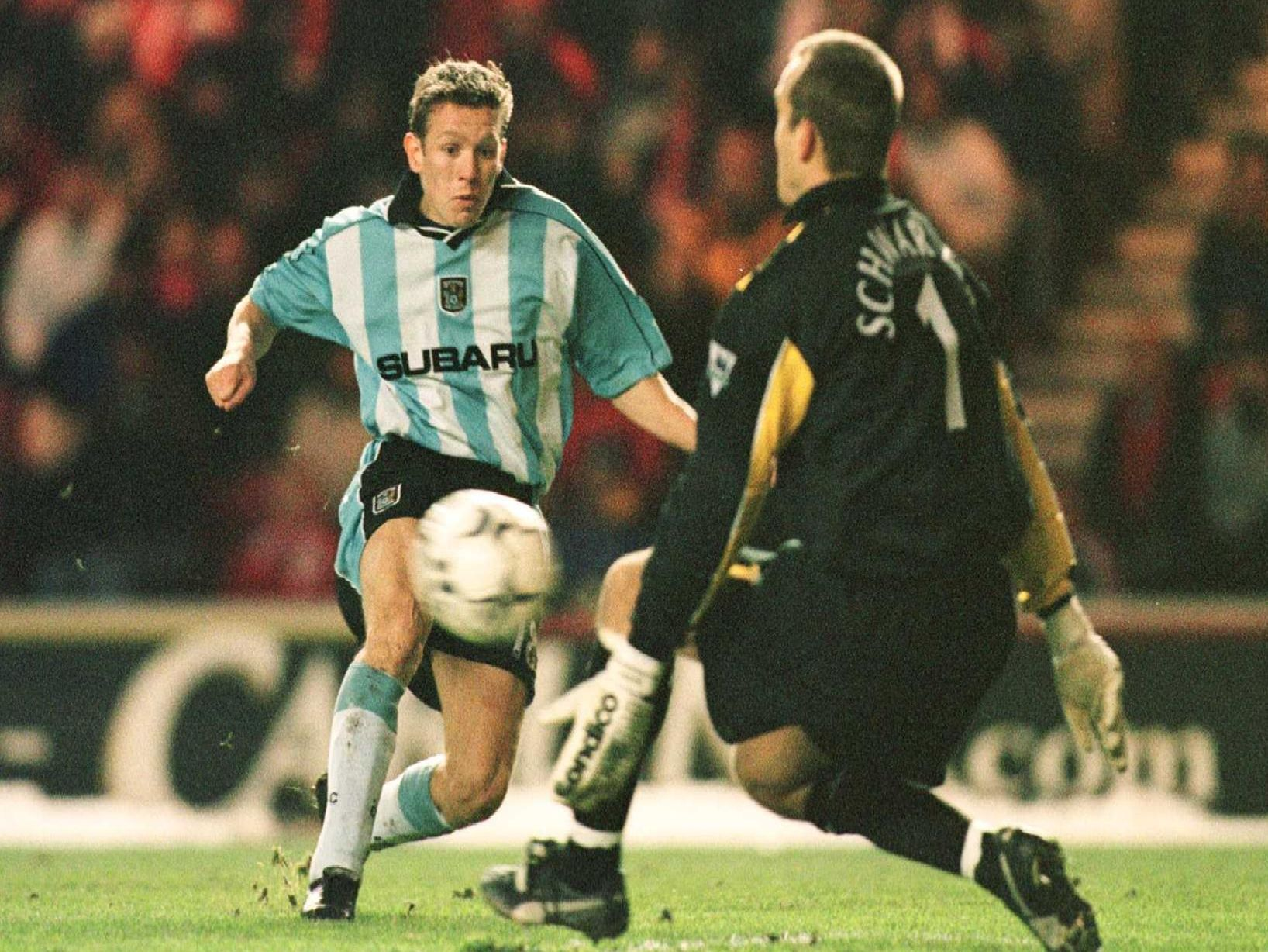 A young Craig Bellamy gets past Mark Schwarzer during a 2000 clash between Middlesbrough and Coventry City in the FA Carling Premiership at The Riverside Stadium.