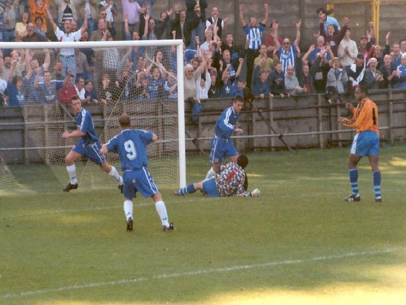 Geoff Horsfield scores. Halifax v Stevenage, The Shay, October 18, 1997. Photo: Keith Middleton