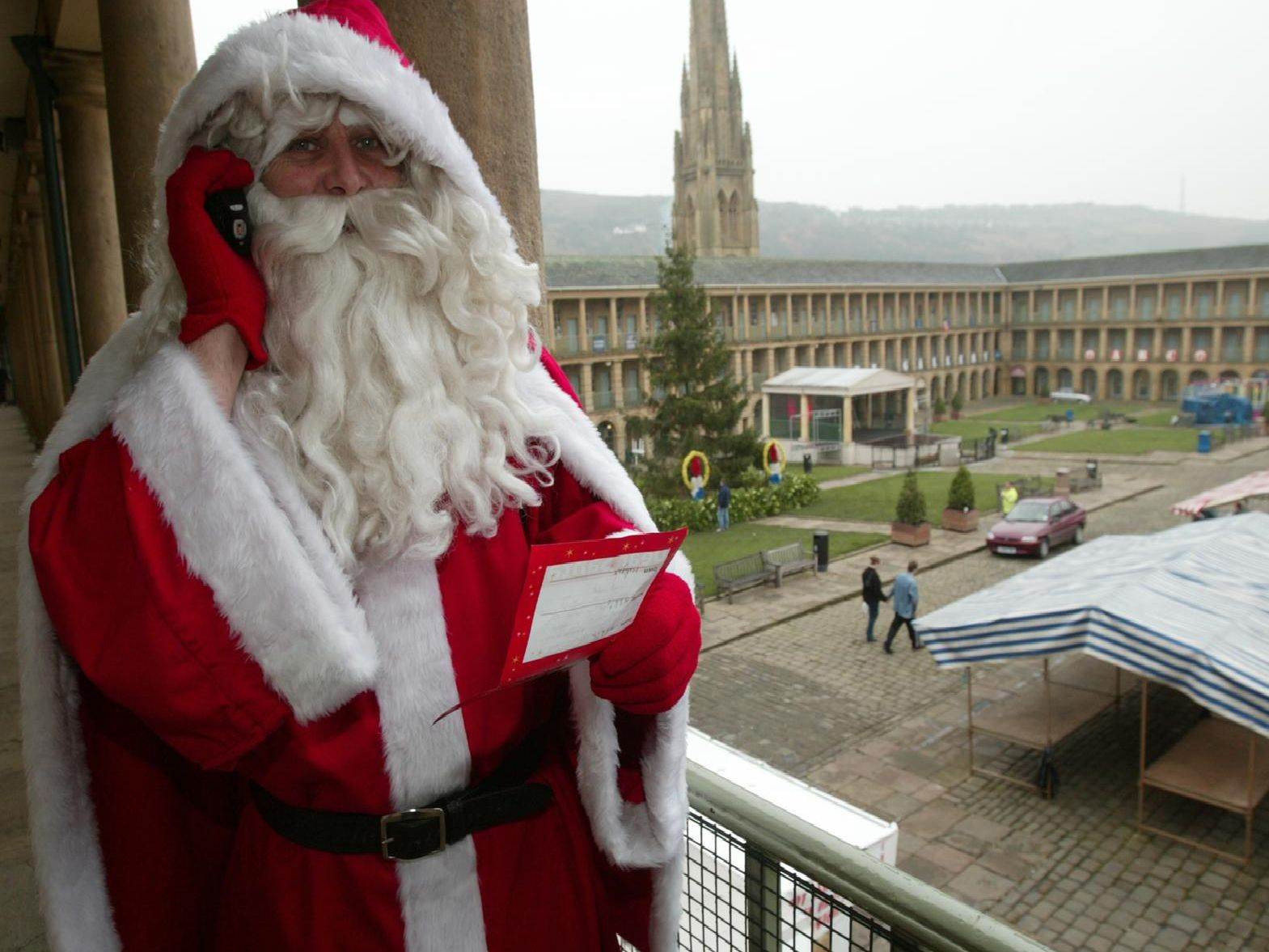 Father Christmas pops into the Piece Hall back in 2003.