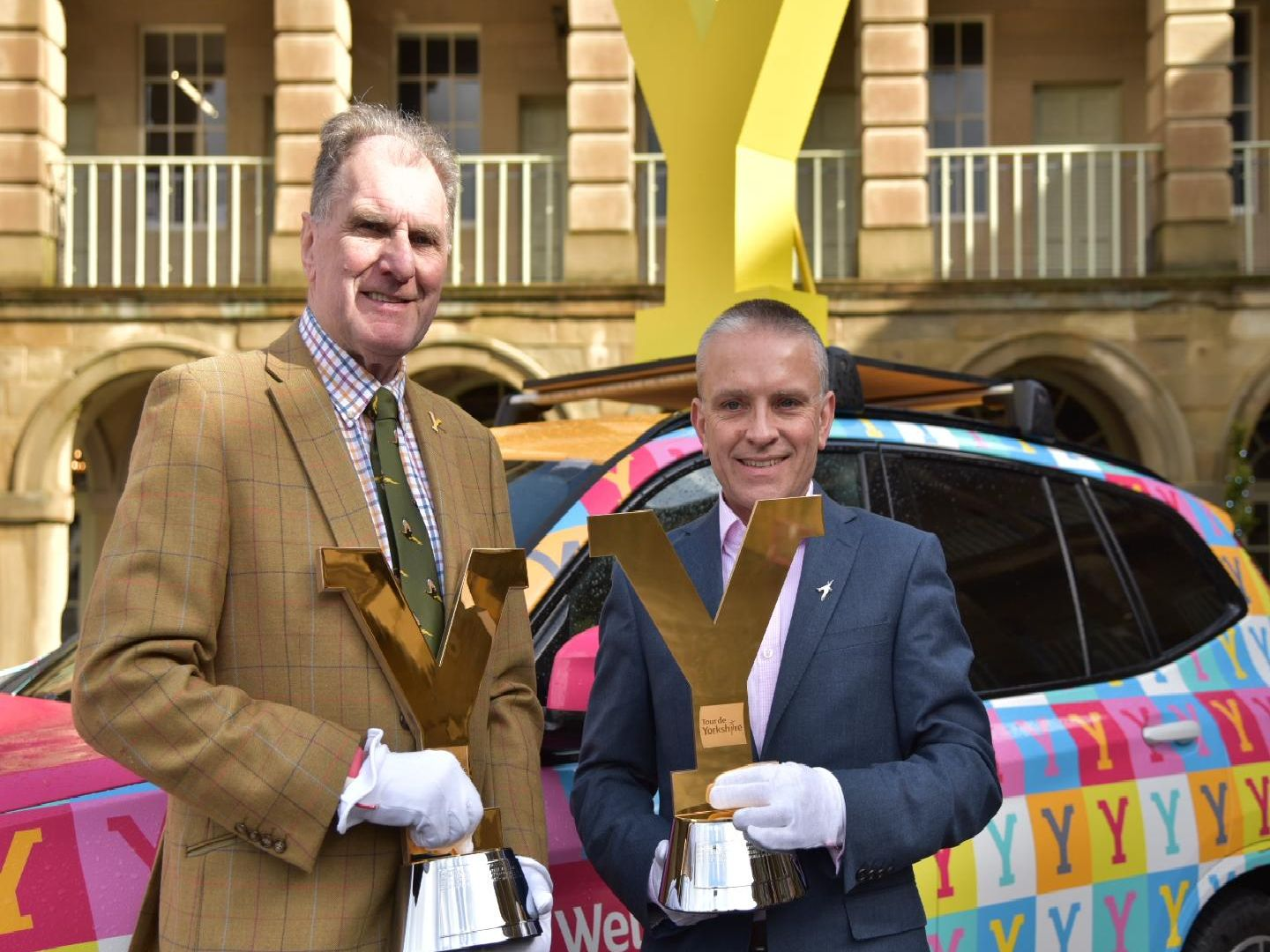 The Tour de Yorkshire trophies at the Piece Hall