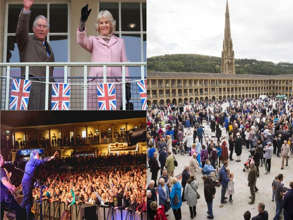 Celebrating second anniversary of The Piece Hall, Halifax on Yorkshire Day
