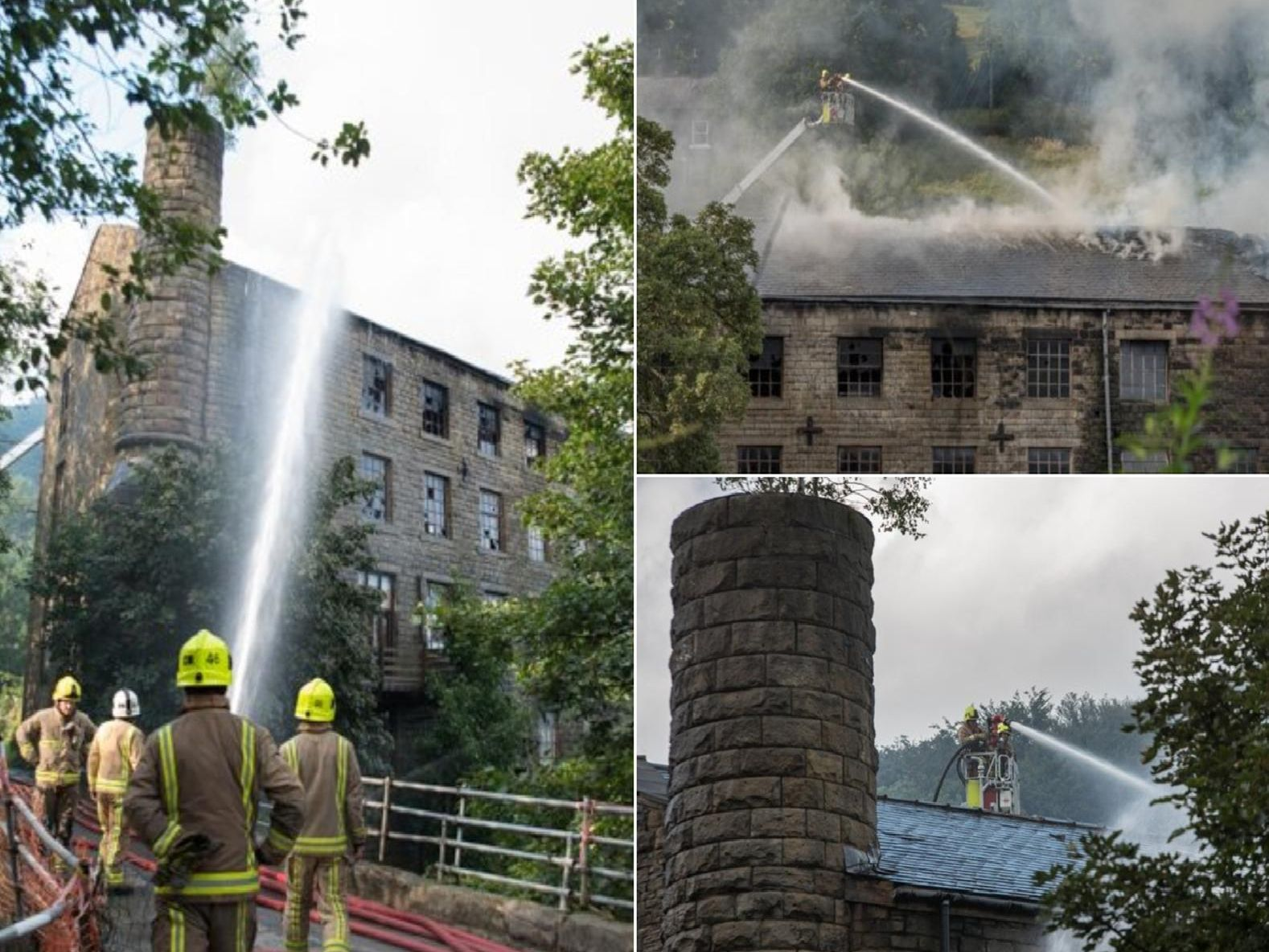 Firefighters tackle a major fire at the old Walkley Clogs building, Burnley Road, Mytholmroyd.