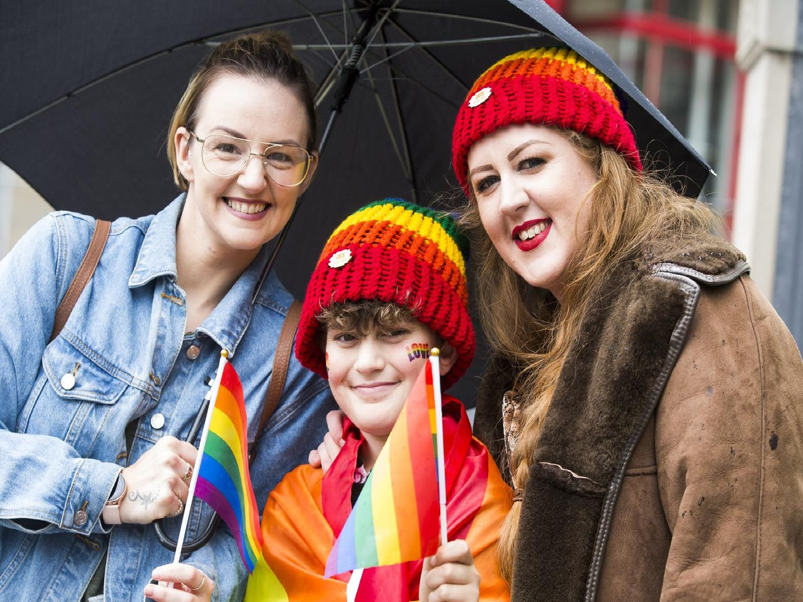 Calderdale Pride, Halifax. From the left, Nicola Wright, Junaid Jones 12, and Zoe Jones (from Big Brother).