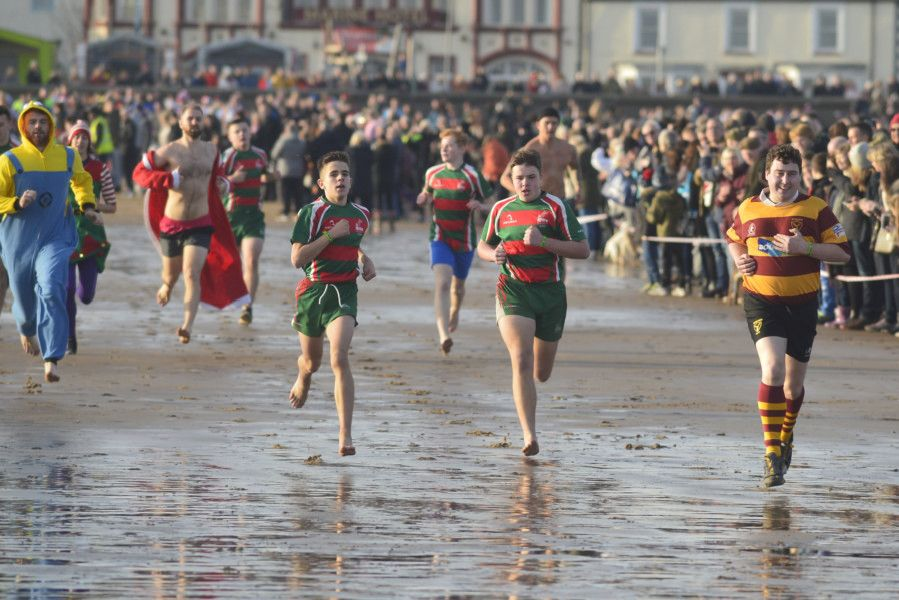 Boxing Day dippers pictured taking part in the annual event at Seaton Carew.