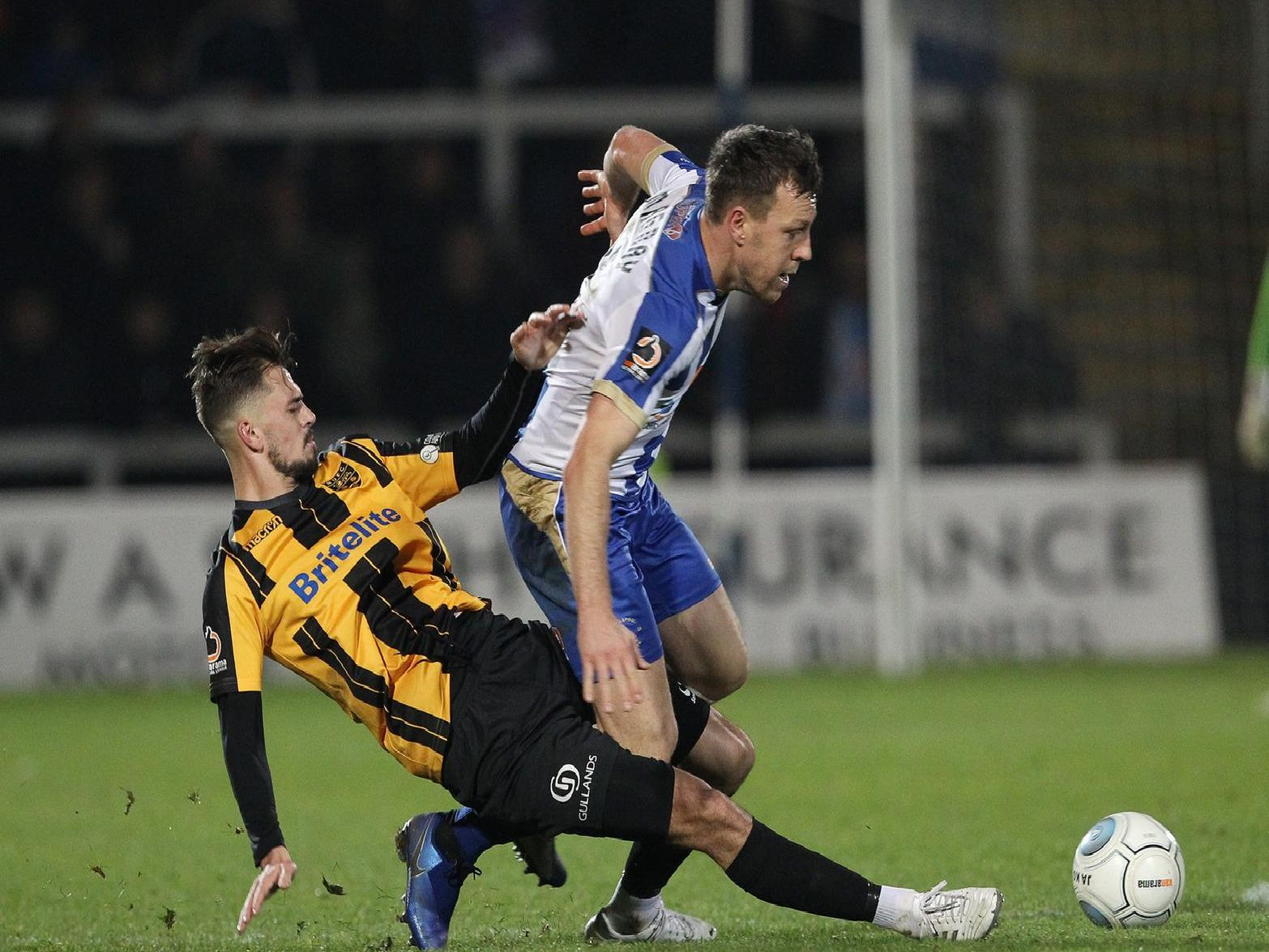 Hartlepool United's Carl Magnay battles for the ball.