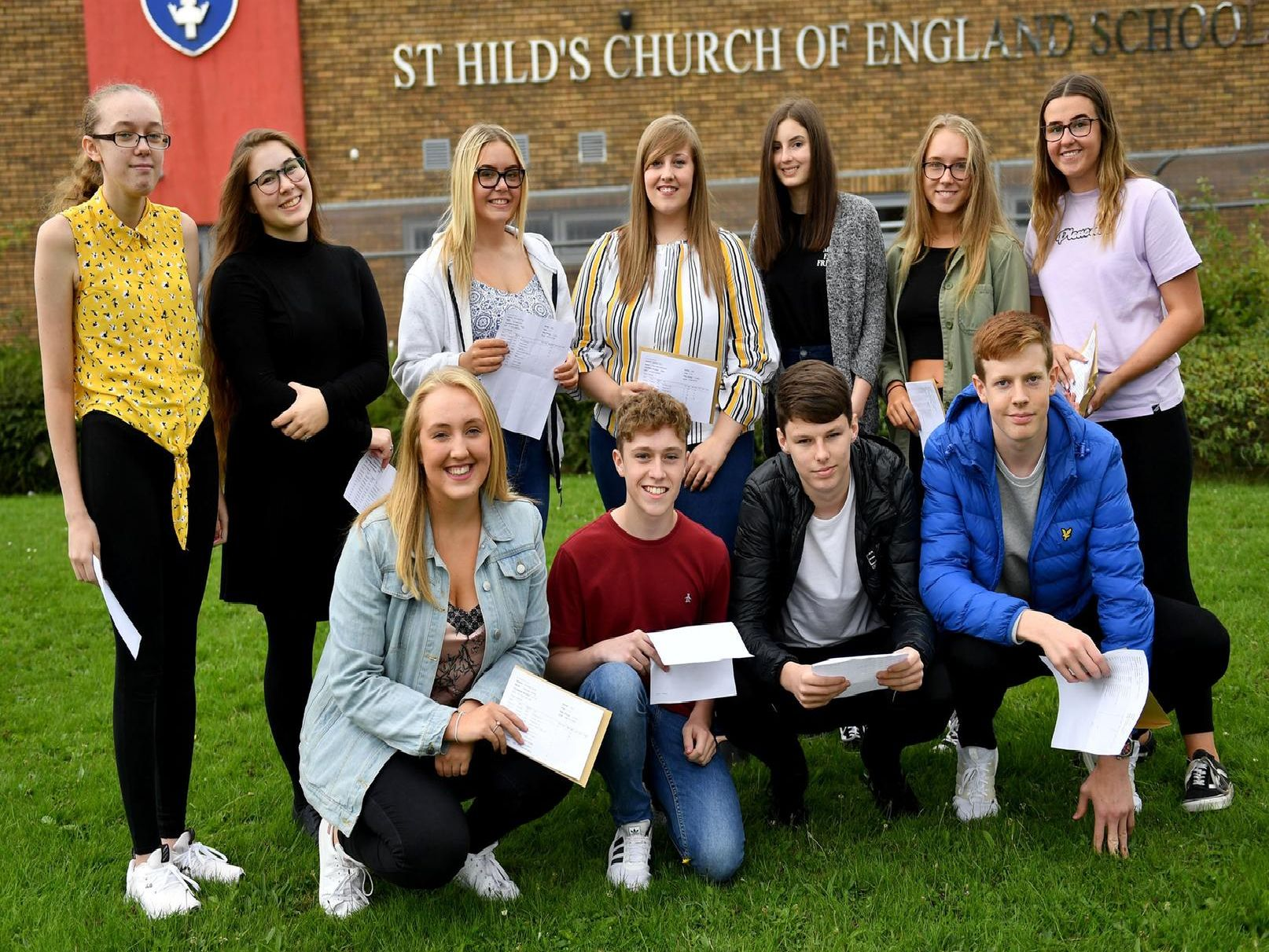 Pupils at St Hild's Church of England School celebrate their GCSE results last August.