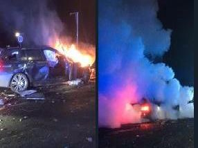 The scene of the  crash in Bradford.'Photo: West Yorkshire Police Roads Policing Unit