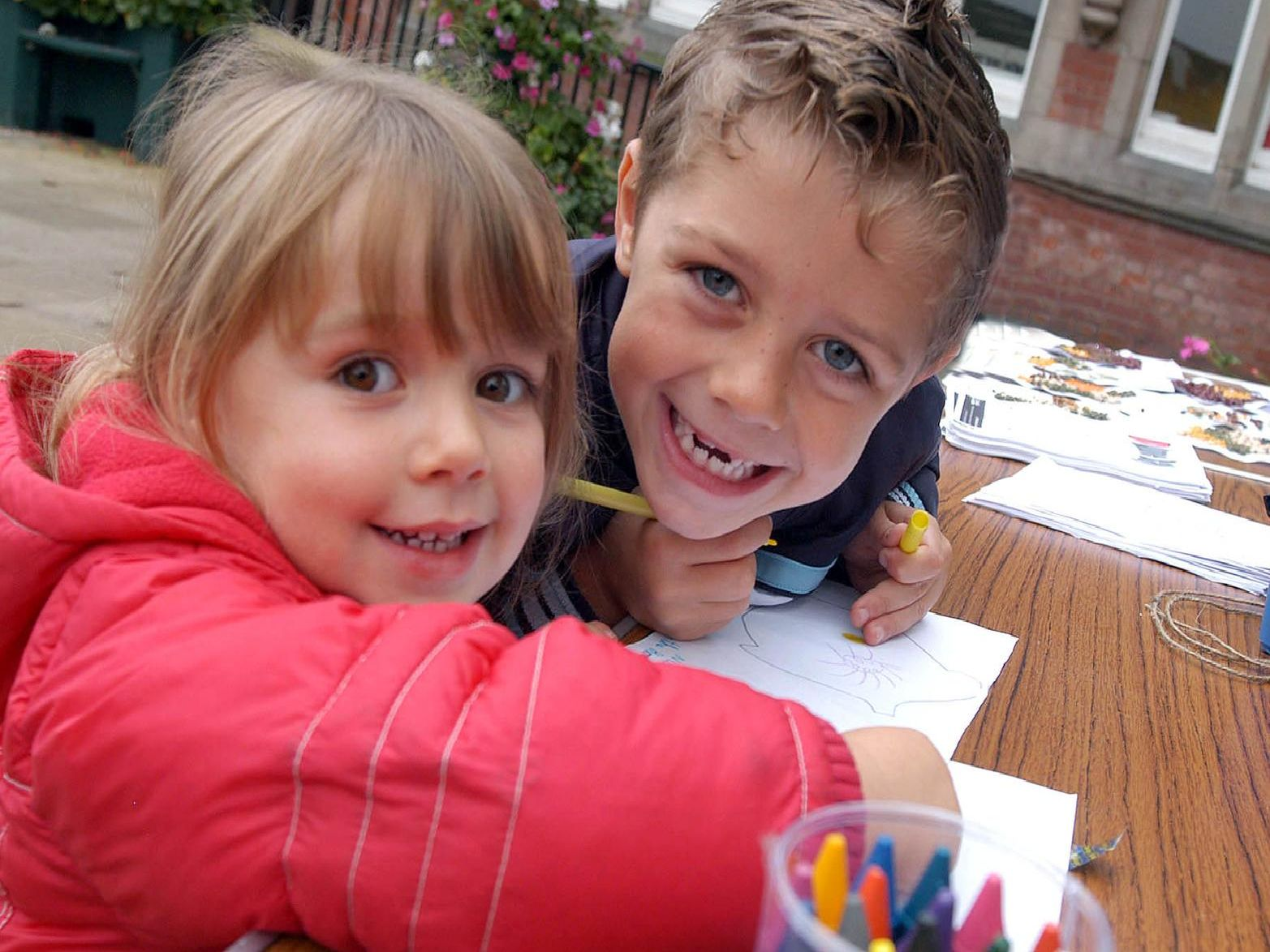 2007: This smiley pair are Fallon and Niall Towle. They took part in the One World Draw in the Market Place, Hucknall. Did you take part?