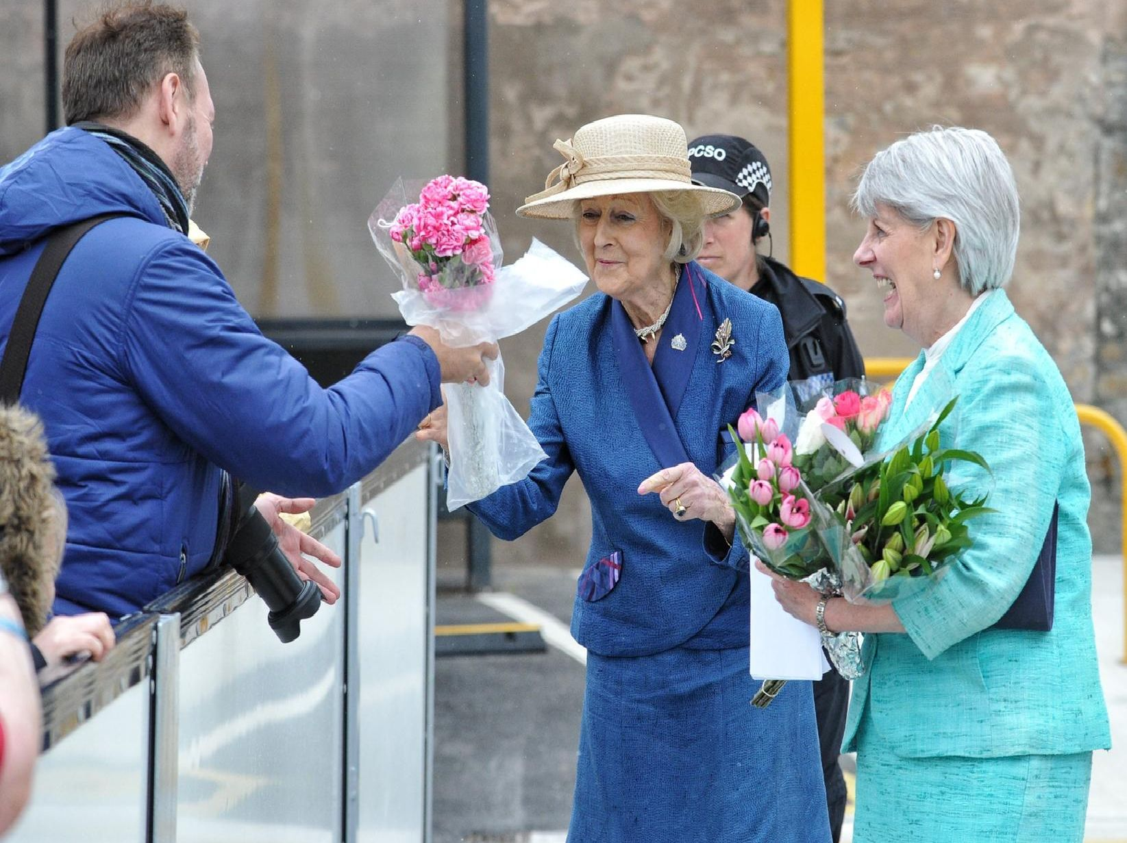 Princess Alexandra meets residents who gathered to see her at the opening of the community fire and ambulance station.