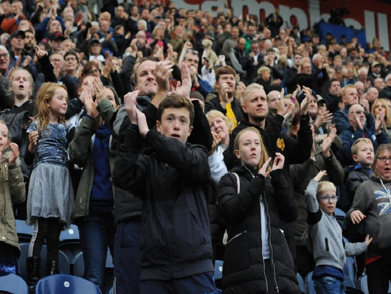 Preston supporters applaud their team during the 5-1 win over Barnsley